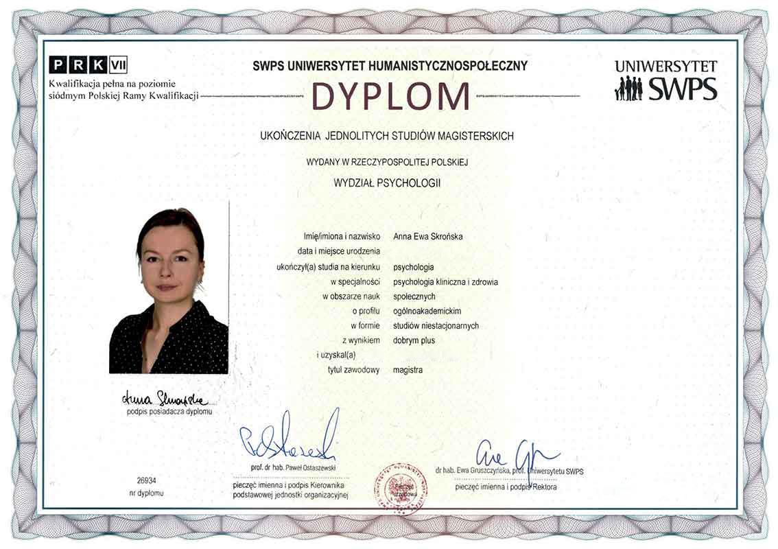 dyplom psycholożki